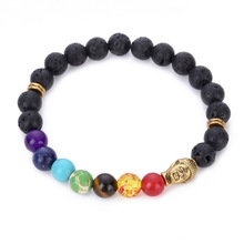 Seven Colors Bead Buddha Bracelets for Men Woman Black Lava Stone Elastic Charm Hand Jewelry gift DropShipping