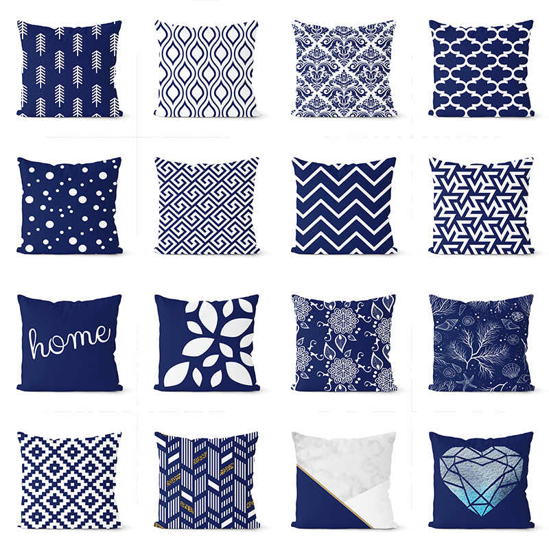 navy blue cushion cover 45 45cm polyester geometric pillow cover decorative pillows home decoration throw pillowcase