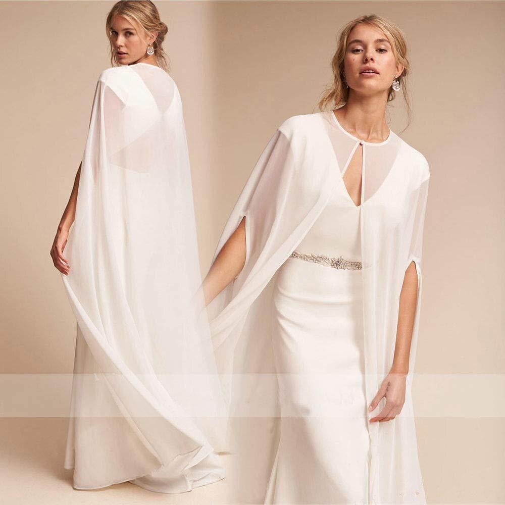 Bridal Wedding Capes Veils Chiffon Bridal Wraps Cathedral Length Wedding Cloak With Arm Hole Charming Chiffon Cathedral Length