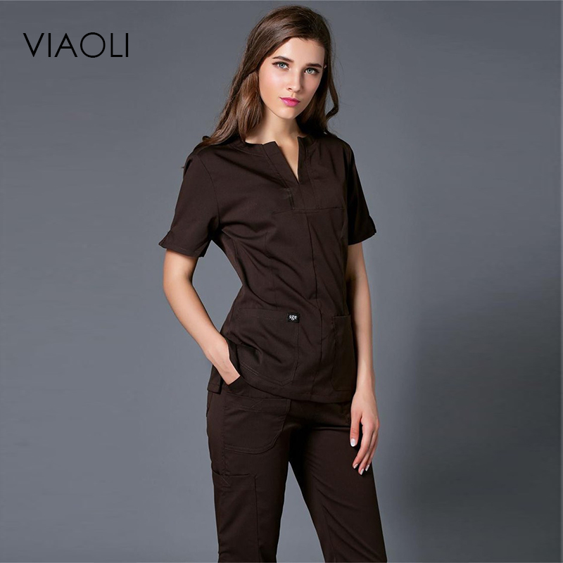 Viaoli Women's Short-sleeved Hand-washing Sets Of Medical Beauty Plastic Surgery Doctor Brush Hand Clothes Clothing