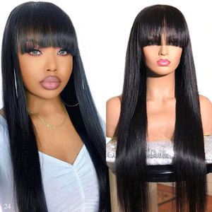 150% Short Bob Straight Human Hair Wigs With Bangs Full Machine Made Wig Bob Wig With Bangs Remy Brazilian Hair Wigs With Bangs(China)