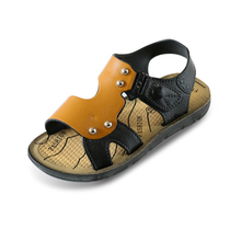 Buy New Korean summer sandals artificial leather boy beach shoes 20-34 yards large / middle age children outdoor sports sandals directly from merchant!