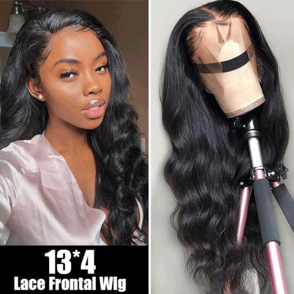 Allrun 13*4 dantel ön İnsan saç peruk % 150% brezilyalı olmayan Remy vücut dalga 360 sırma ön peruk siyah kadınlar için bebek saç ile