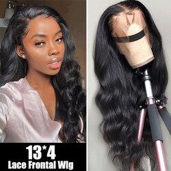Pelucas de cabello humano Allrun 13*4 con encaje Frontal 150% brasileño sin onda del cuerpo Remy 360 pelucas de encaje Frontal para mujeres negras con pelo de bebé