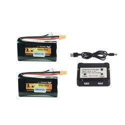 7.4v 2000mAh 20C 18650 Li-ion Battery XT30 Plug For Huina 580550 583 582 RC Car Spare Parts 2s 7.4v Battery Charger Set