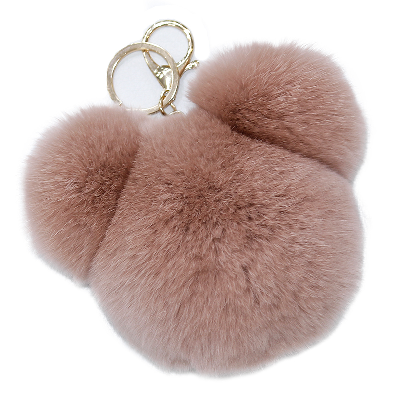New style Rex rabbit fur pendant Cute Panda Head bag pendant furry key chain