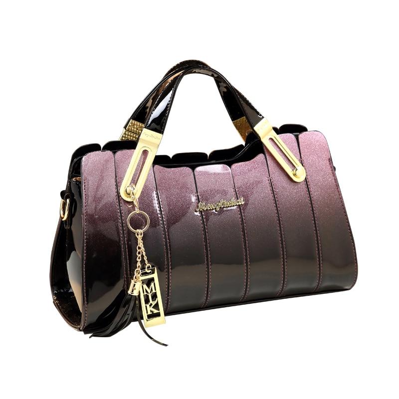 ICEV 2019 New Fashion Luxury Handbag Women Bag Designer High Quality Patent Leather Messenger Bag Ladies Leather Clutch Boston