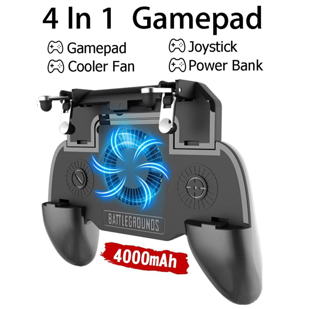 YOBWIN Mobile Controller With <font><b>4000mAh</b></font> <font><b>Power</b></font> <font><b>Bank</b></font> Cooling Fan For PUBG Gmae Phone Controller Gamepad For IOS Andriod Phone image