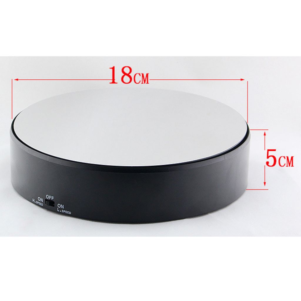 360° Rotating Display Stand Base Rotary Turntable Mirrored Top - Speed Adjustable - 2kg Load Bearing
