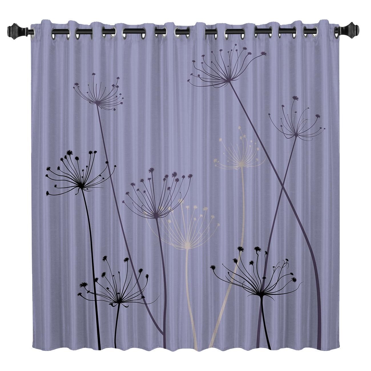 Purple Background Plant Window Curtains Dark Living Room Curtain Rod Bathroom Kitchen Outdoor Fabric Window Treatment Ideas
