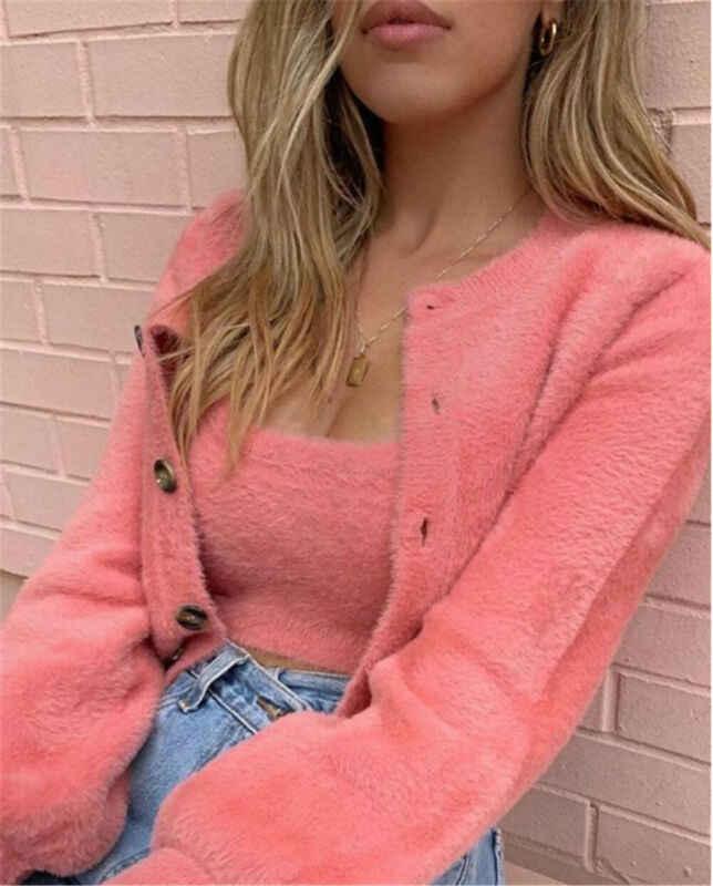 2pcs 여성 캐주얼 패션 부드러운 플러시 양털 코트 솔리드 컬러 긴 소매 자 켓 겨울 따뜻한 스웨터 단추 Outwear 핑크 그린
