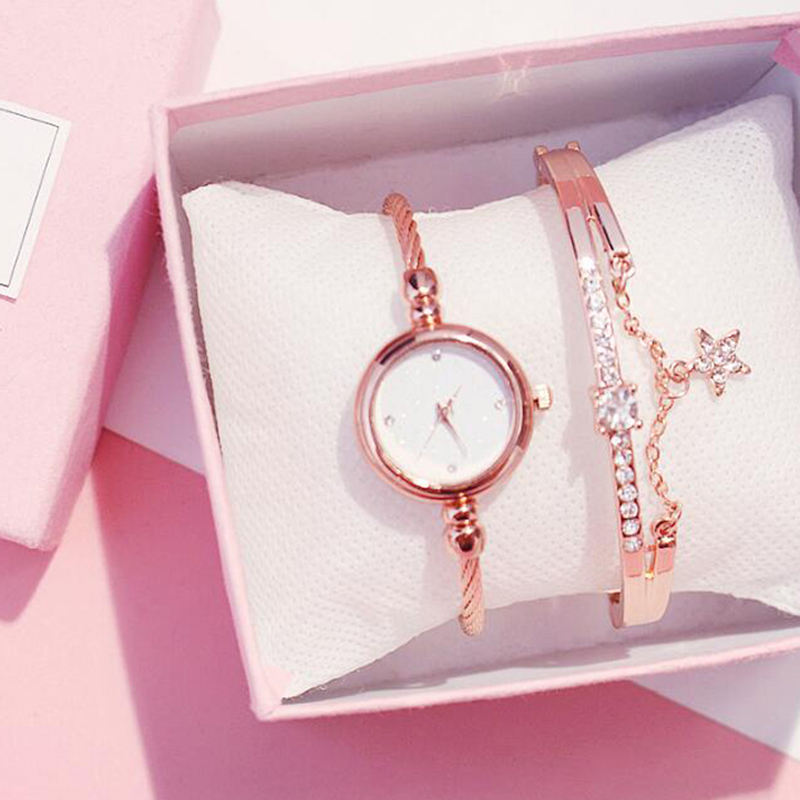 Women Watch Starry Sky Luxury Bracelet Set Diamond Watches Casual Rose Gold Band Quartz Wristwatch Female Clock Relogio Feminino