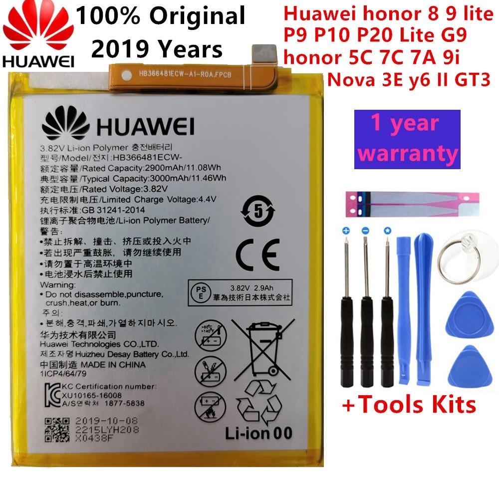 Hua wei real original 3000 mah hb366481ecw para huawei p9/p9 lite/honra 8/p10 lite/y6 ii/p8 lite 2017/p20 lite/p9lite bateria + ferramenta