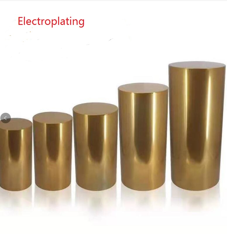 5piece lot gold Iron Round Cylinder Pedestal Stand Art Decor Plinths Pillars DIY Wedding Decoration