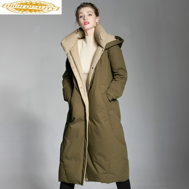 Women's Winter Down Jacket Hooded Coats Puffer Female Jacket Plus Size 90% White Duck Down Coat High Quality 6004 KJ2792