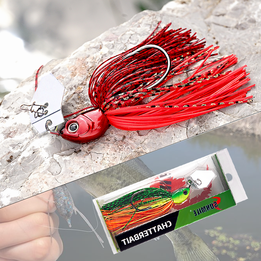 SUNMILE Fishing Chatterbait 16g Jig Hook SpinnerBaits Buzzbait With MUSTAD Hook for Bass Pike Tiger Muskie Metal Jig Lure-4