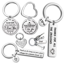 Fashion Keyring Drive Safe Name Stainless Steel Keychain Couples Key Rings Women Men Friend Family Key Chain Pendant Jewelry(China)