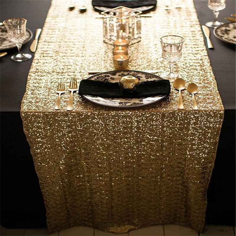 Shining Sequins Table Runners 180*30cm Luxury Modern Minimalist Tablecloth Table Flag Dinner Mats Home Textile Party Decor