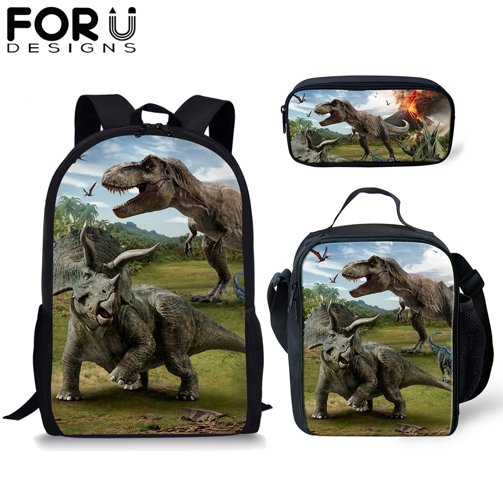 FORUDESIGNS 3D Print School Backpack Set/3PCS For Boy Kids Dinosaur Bookbag Student Satchel Daypack Mochila Stationery Bag 2019