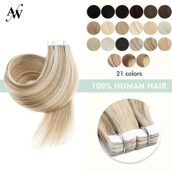 AW 12'' 16'' 20'' Mini Tape In Human Hair Extensions Straight Seamless Invisible Natural Machine Made Remy Adhesive Extension - discount item  49% OFF Human Hair (For White)