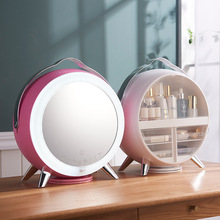 LED Cosmetic Storage Box with Makeup Mirror Skin Care Desktop Dust-proof Rack Dressing Table Storage  Cosmetic Organizer