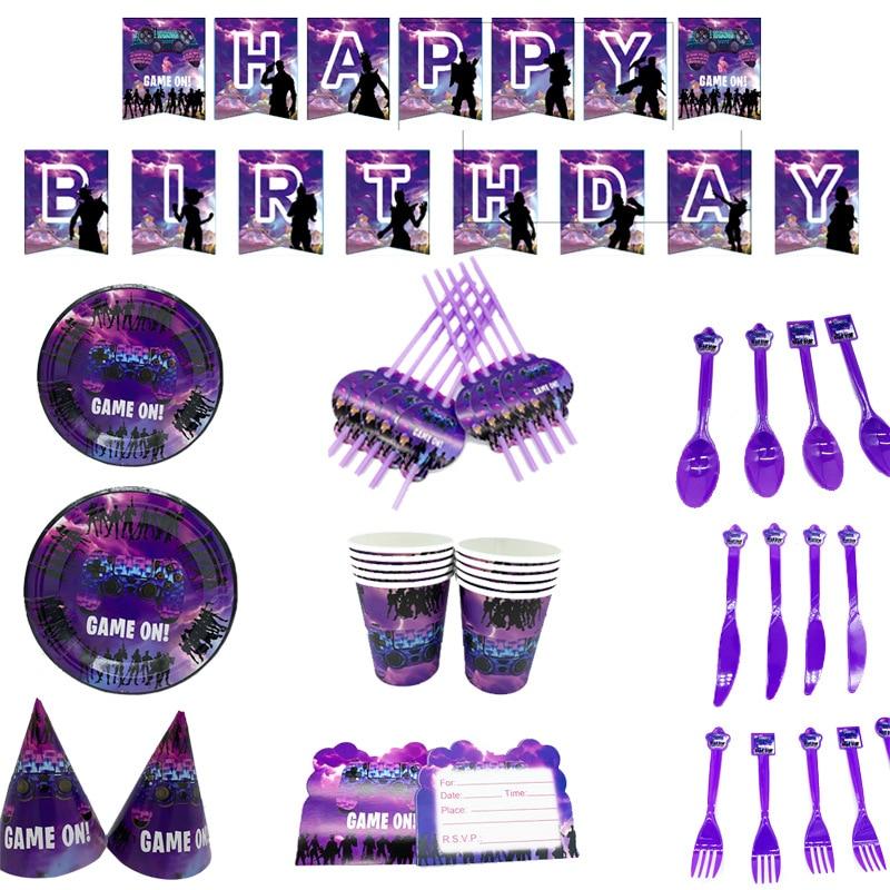 Вечерние наборы для игры Fortnite, бумажный стаканчик, посуда, подставка для торта, принадлежности для крещения, ночных дней рождения, Декор, бит...