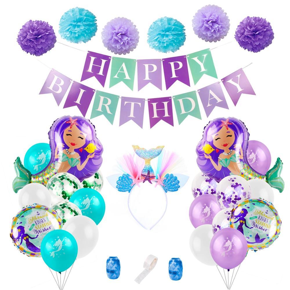 Вечерние украшения Русалочки для вечеринки, вечеринки на свадьбу, день рождения, вечерние баннеры в виде воздушного шара Русалочки, вечерни...