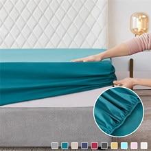 الحديث بسيط نمط الصلبة Solor غطاء سرير المجهزة ورقة شريط مرن ثابت المضادة للحشف التجعد ملاءات المحمولة غطاء للنوم