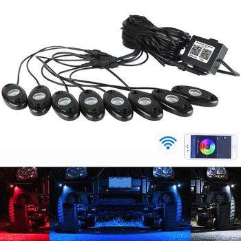 Waterproof RGB LED Rock Lights Bluetooth Multicolor Neon LED Light Kit for Jeep Truck Car SUV Vehicle Glow Trail Rig Neon Lights