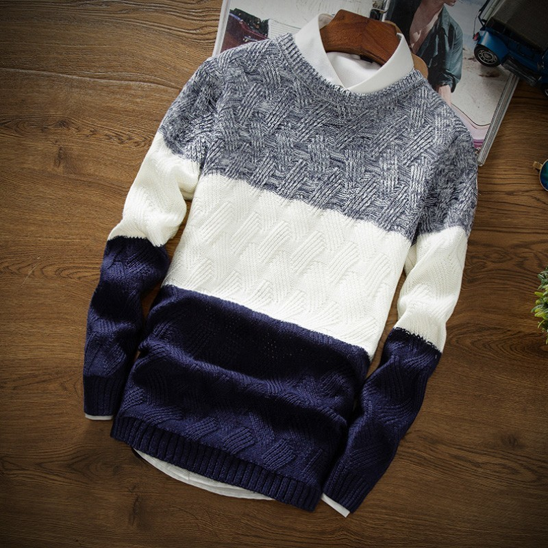 2020 Korean Autumn Winter Mens O-Neck Casual Sweaters Fashion Long Sleeve Panelled Slim Fit Male Pullover Knitted Tops Plus Size