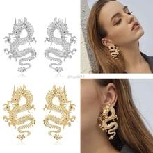 Punk Rock Gold Plated Firery Dragon Stud Earrings Thrones Costume Game Merchandise Animal Dragon Stud Earrings Jewelry