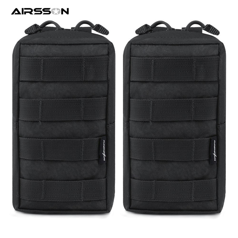 2pcs Tactical Molle Pouch Waterproof Waist Belt Bag EDC Gear Phone Pouch Utility Gadget Pack Outdoor Airsoft Hunting Accessory