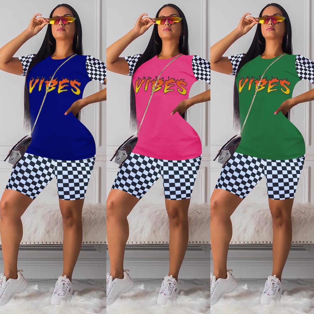 2 stück Sets Frauen Outfits Sommer Kleidung Trainingsanzug Plaid Print Top Biker Shorts Set Schweiß Anzüge Lounge Tragen Dresy Damskie