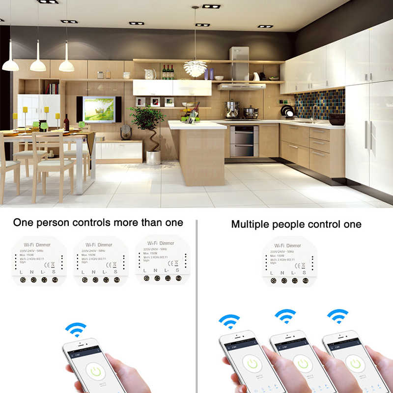 2020 Новый умный WiFi светильник светодиодный диммер модуль 1/2Way переключатель интеллектуальная Автоматизация дома Совместимость с Alexa Google Home