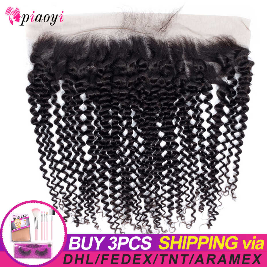 "Piaoyi Pre Plucked Brazilian Kinky Curly Lace Frontal Closure 8-22"" Ear to Ear Human Hair Lace 13x4 Closure Remy Hair"