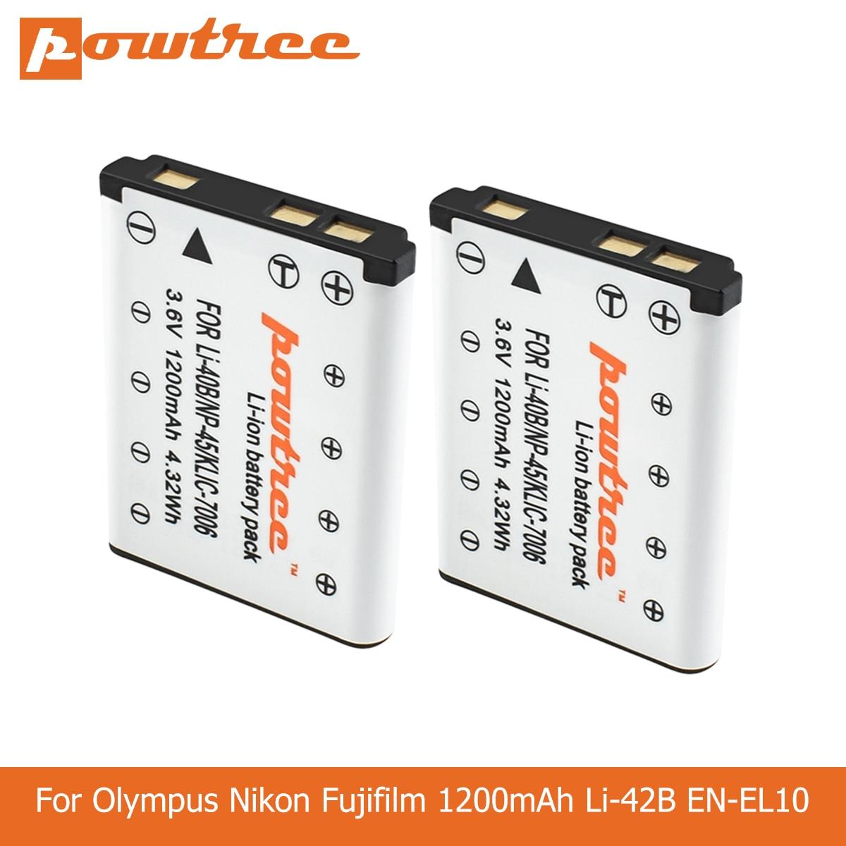 Powtree 1200mah Li-40B li40b np45 Li-42B EN-EL10 en el10 enel10 baterias de câmera digital para olympus nikon fujifilm kodak l50