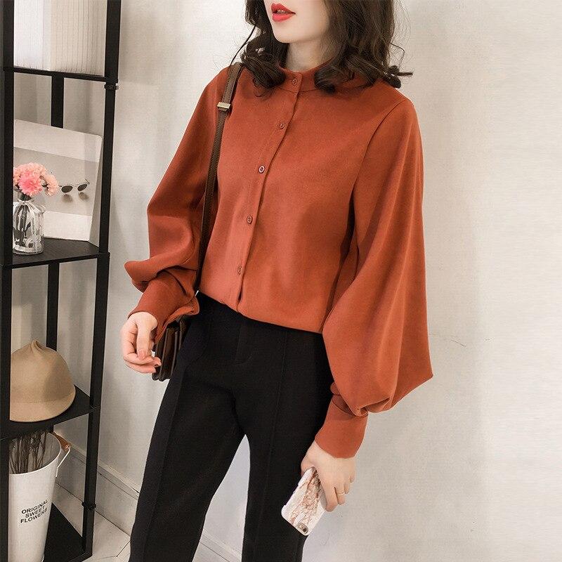Autumn 2019 New Women Solid   Blouse   Casual Korean Loose   Shirt   Long Sleeve   Shirt   Streetwear Vintage Elegant Plus Size Women Tops