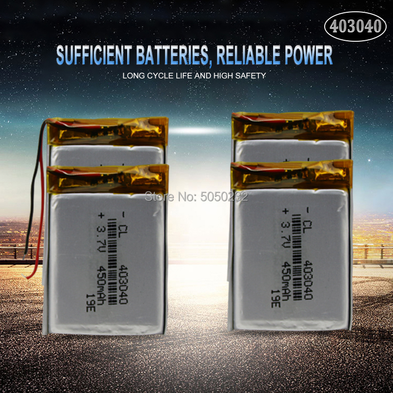 4pc <font><b>3.7V</b></font> 450mAh <font><b>403040</b></font> Polymer Lithium Rechargeable Battery For MP3 MP4 GPS Bluetooth Tachograph Car DVR speaker cells image