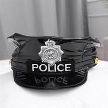 Chapeau de Police en cuir, Badge octogonal, noir, capitaine, plat, haut de scène, casquettes militaires