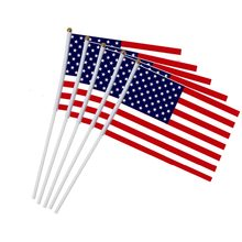 5pcs/10pcs USA Stick Flag Hand Held Small American US Flags On Stick,International World Country Stick Flags Banners(China)