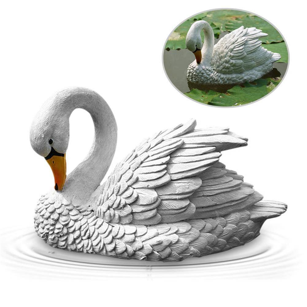 Water Fountain Outdoor Garden Ceramic Swan Figurine Set of 2 Small 3.25 Floating Animals for Koi Fish Pond Decoration Swan Pair - Orange /& Red