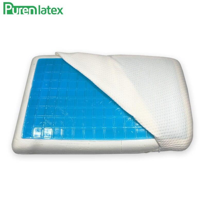 PurenLatex Silicone Gel oreillers oreiller en mousse à mémoire de forme été refroidissement par la glace cou glace-Cool vertèbre cervicale coussin de guérison orthopédique