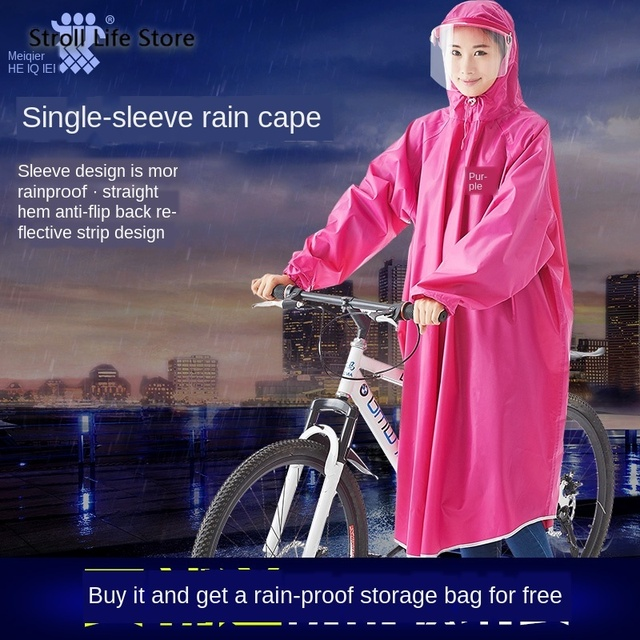 Adult Bicycle Raincoat Women Riding Thickening Rain Coat Rain Poncho Women Jacket Electric Waterproof Coat Capa De Chuva Gift 1