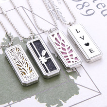 Прямоугольный Магнитный Ароматерапевтический диффузор из нержавеющей стали, ожерелье, ювелирный парфюм, медальон, кулон, ожерелье с эфирным маслом