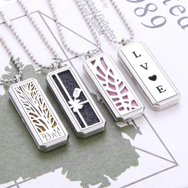 Rectangle Stainless Steel Magnetic Aromatherapy Diffuser Necklace Jewelry Perfume Locket Pendant Essential Oil Locket Necklace