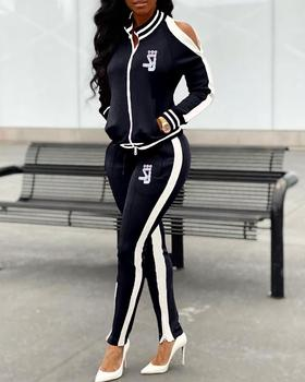 2020 Women Elegant Fashion Casual Suit Sets Female Stylish Two Pieces Cold Shoulder Side Stripe Top & Pant