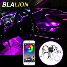 Цветная (RGB) светодиодный полоски окружающей среды светильник приложение звук музыки Управление для салона автомобиля атмосфера Светильни...