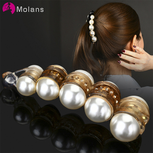 Molans Pearls Solid Banana Hair Clips In Women's Hair Accessories Ponytail Barrettes Elegant Hair Claws Hairpins