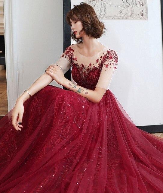 Купить роскошные дубай блёстки вечернее платье 2020 иллюзия шеи с коротким картинки цена