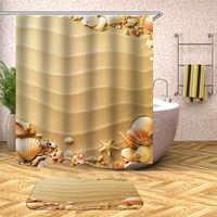 3d paisaje marino patrón Cortina de ducha puesta de sol luz cortina de baño gruesa impermeable acolchada Cortina de ducha